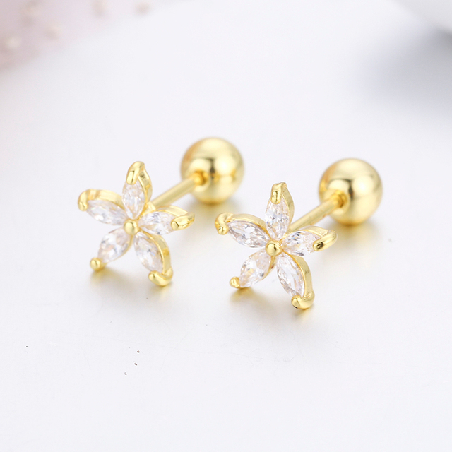 7Colors Cute Five Petals CZ Stones Flower Screw Back Stud Earrings For Women Baby Kids Girls.jpg 640x640 - 7Colors Cute Five Petals CZ Stones Flower Screw Back Stud Earrings For Women Baby Kids Girls Gold Color Piercing Jewelry Aros