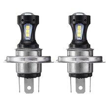 2 Pcs H4 18SMD LED Fog Driving Light Bulbs Daytime Running White 6000K 12V DC Aluminum Housing For DRL Fog Light Headlight
