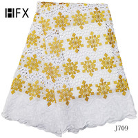 HFX african lace fabric 2019 high quality multi color swiss voile lace in switzerland punch cotton embroidery nigerian laceL709