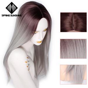 Image 3 - Длинные Синтетические парики Spring sunshine, термостойкие, шелковистые, прямые, 22 дюйма, бордовые, черные, серые, розовые, коричневые