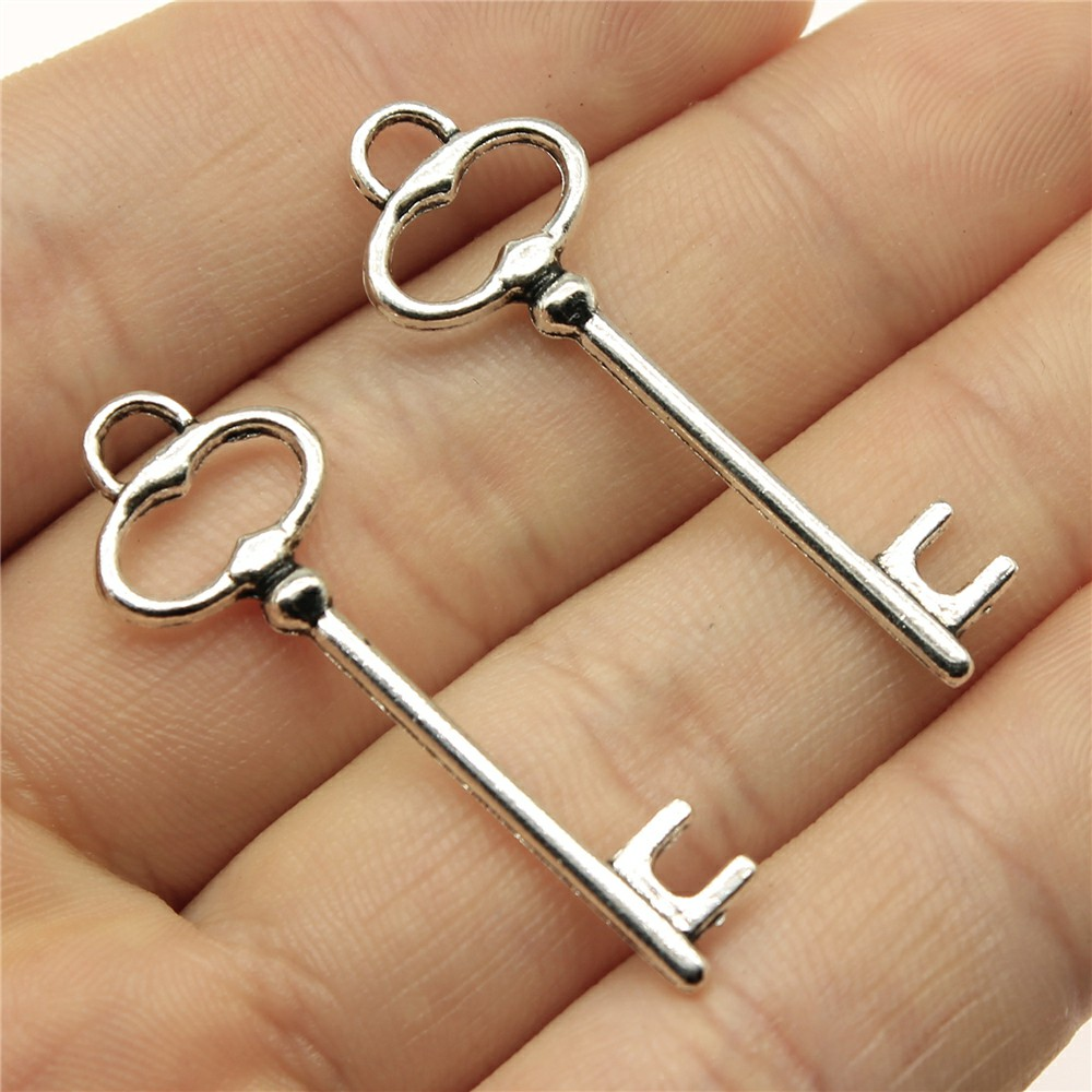 Diy-Accessories Jewelry-Findings Charms Key Pendant Silver-Color Antique 10pcs 40x13mm