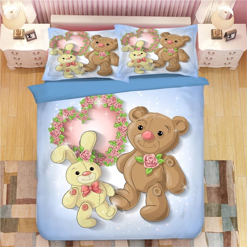 Mignon bébé ours peinture impression 3D ensemble de literie housse de couette taies d'oreiller une pièce couette ensembles de literie literie literie linge de lit
