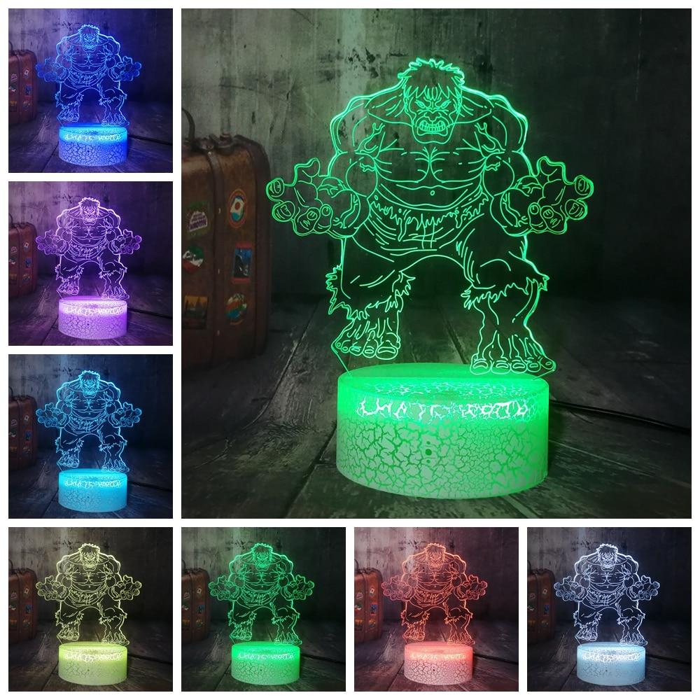 Cartoon Marvel Figure Hulk 3D Lamp LED Night Light RGB USB Multicolor Table Desk Lamp Boys Bedroom Cool Decor Teen Christmas Gif