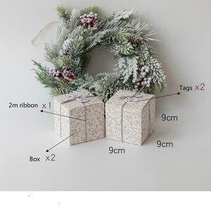Image 2 - Набор из 10 подарочные коробки для вечеринок с лентой и ярлыком подарочные коробки мир и радость Праздничная коробка Рождественский подарок Подарочная коробка товары для вечеринок