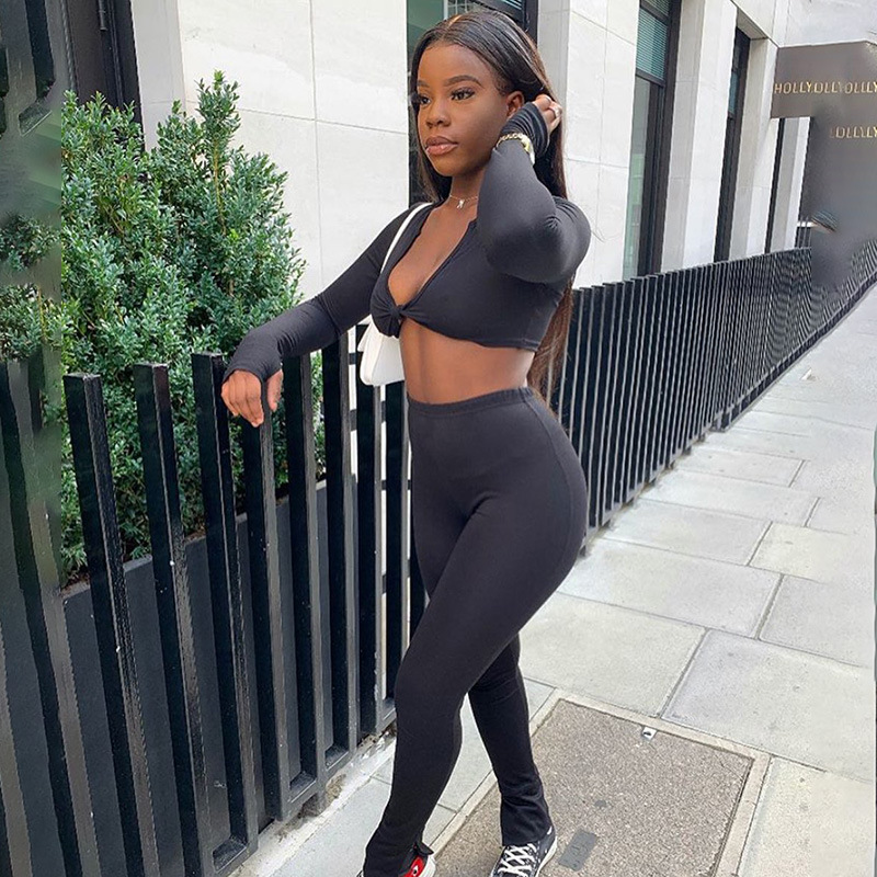 Black Front Tie Crop Top And High Waist Leggings Set
