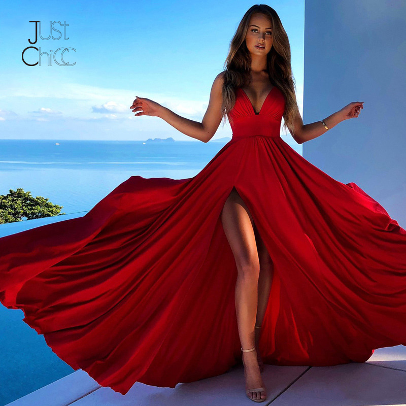 Justchicc Red Evening Party Long Dress Women Autumn Maxi Dress Sexy High Split Spaghetti Strap Dress Vestidos De Fiesta De Noche