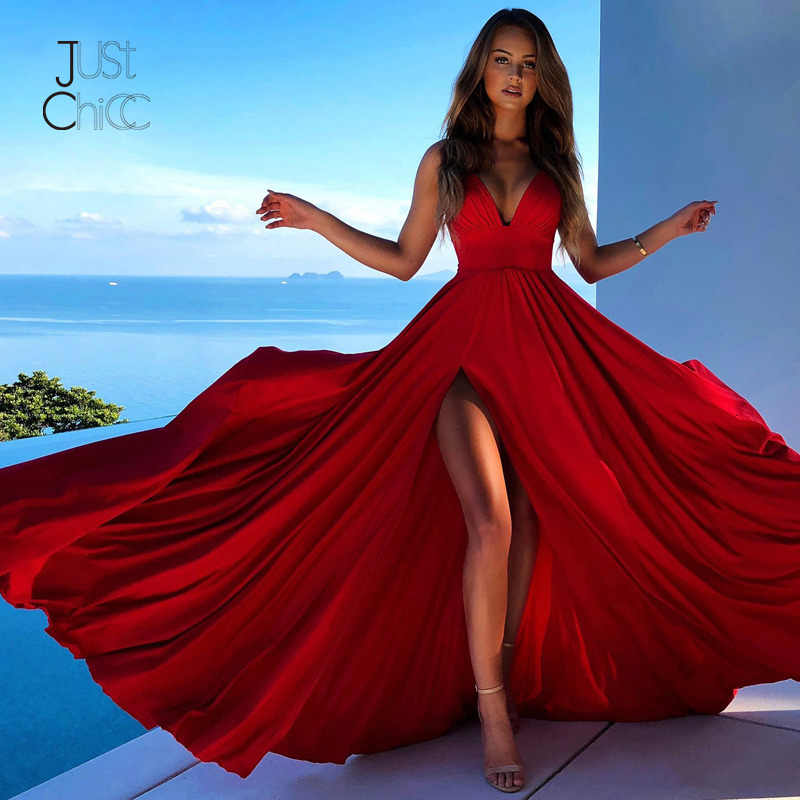 Justchicc Red Evening Party Long Dress Women Autumn Maxi Dress Sexy High Split Spaghetti Strap Dress Vestidos De Fiesta De Noche