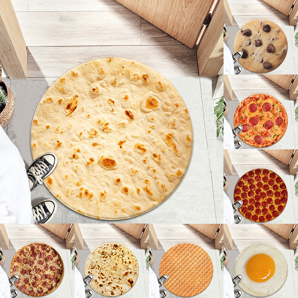 2020 Funny Crazy Round Air Conditioning Blanket Food Creations Pizza Donut Hamburger Wrap Throw Round Blanket Hamburger