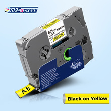 Label-Tape Heat-Shrink-Tube Black Tze Hse 9mm for Hse-621 on Yellow