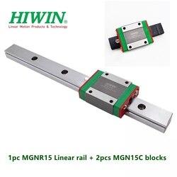 1pc oryginalny Hiwin szyna liniowa MGN15 100 150 200 250 300 330 350 400 450 500 600 mm MGNR15 + 2 sztuk MGN15C bloki cnc części w Łożyska od Sport i rozrywka na