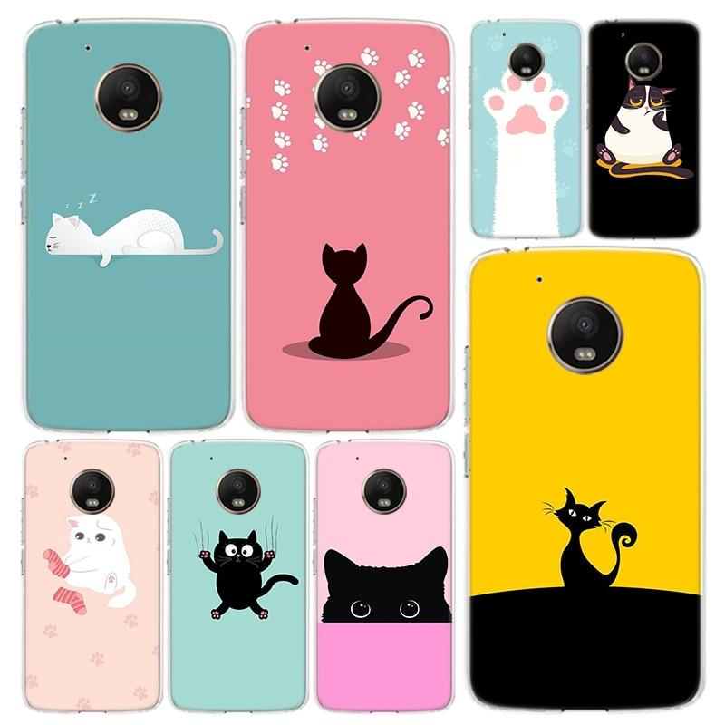 Cute Cat Cartoon Phone Case Cover For Motorola Moto G8 G7 G6 G5S G5 G4 E6 E5 E4 X4 Play Plus Power + One Action Coque