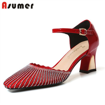 ASUMER 2020 new arrive patent leather women pumps buckle crystal elegant party wedding shoes spring summer single shoes woman
