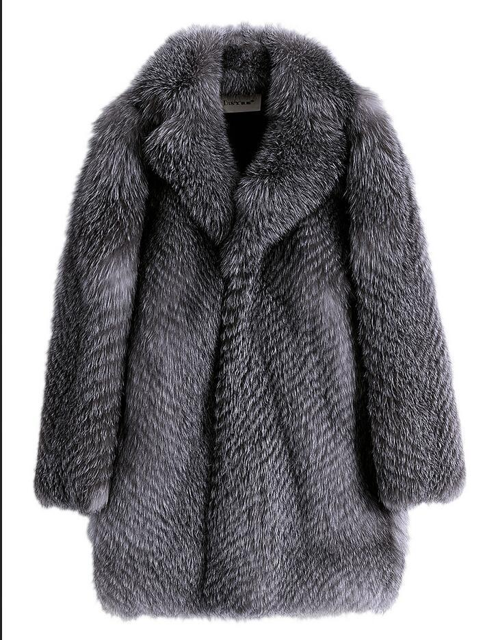 New Arrival Luxurious Men's Fox Fur Coat Fur One Genuine Leather Winter Fur Jacket High Quality Male Warm Silver Fox Winter Coat
