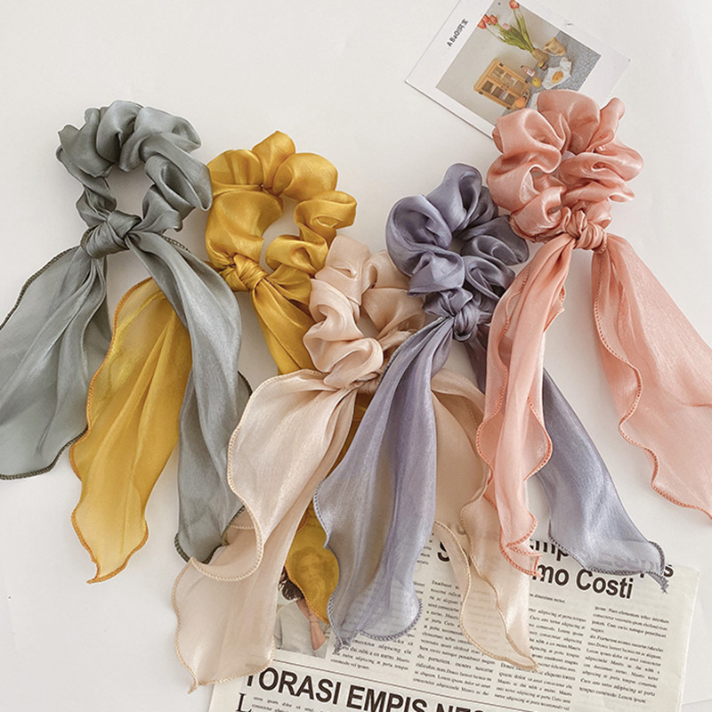 Fashion Satin Ribbon Bow Hair Scrunchies Girls Hair Ties Hair Accessories Elastic Hair Band Ponytail Scarf Hair Ring For Women