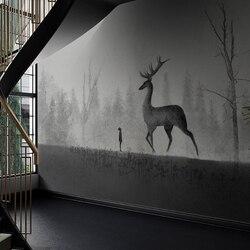 MASAR licht grau landschaft tier wandmalereien, personalisierte hintergrund wand papier kunst raum dekoration tapete Morgen deer