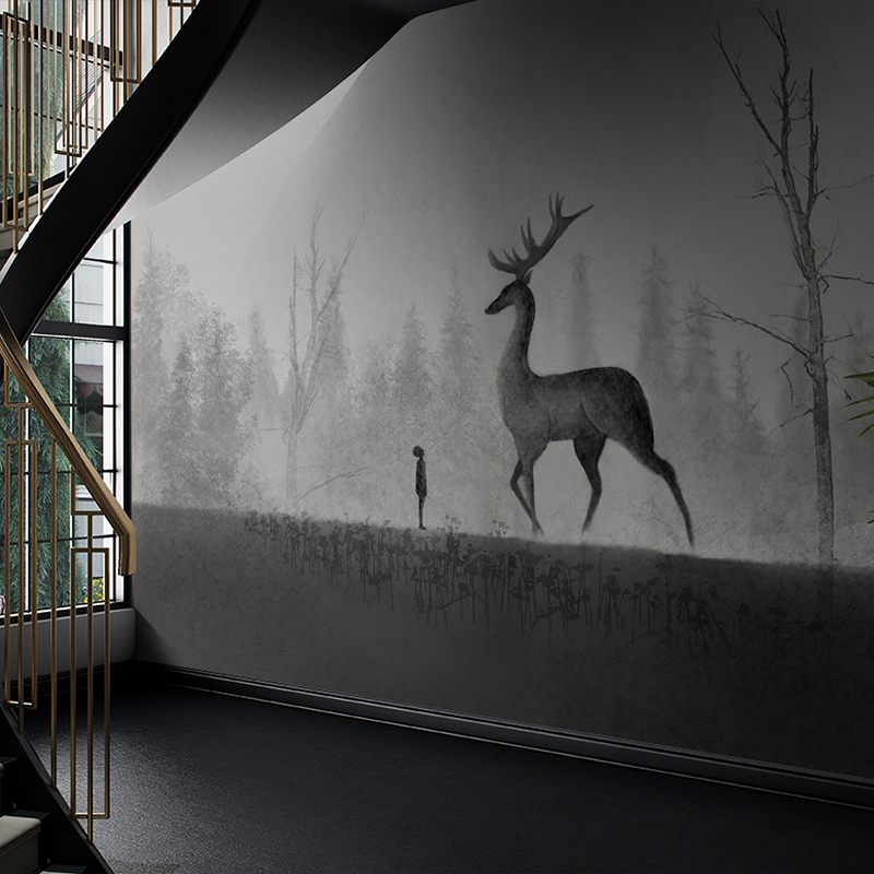 MASAR Light Gray Landscape Animal Murals Personalized Custom Background Wall Paper Art Space Decoration Wallpaper Morning Deer