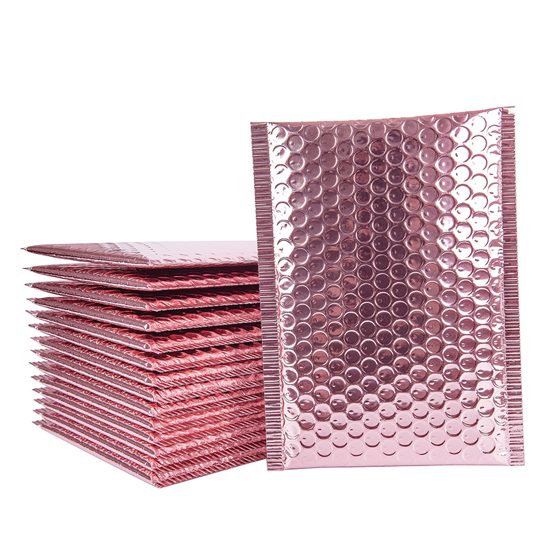 10Pcs Rose Gold Bubble Mailer Aluminum Foil Bubble Envelope Padded Shipping Bags With Bubble CD/Eyelash Packaging Bags 9 Sizes