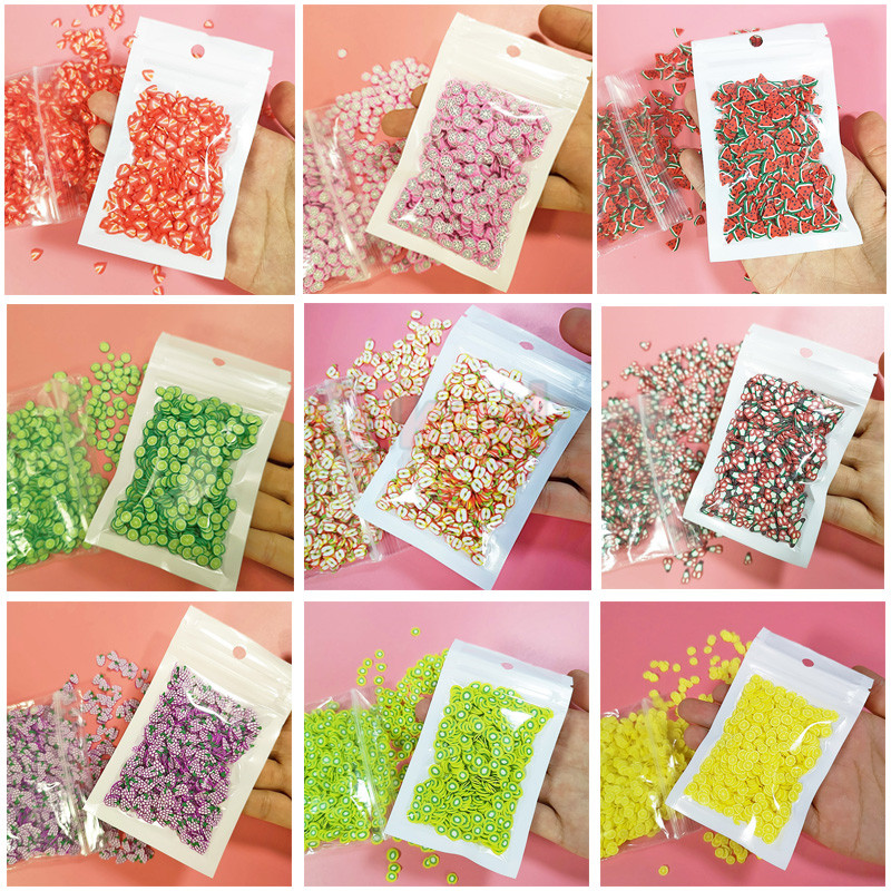 1000pcs Fimo Fruit Slices Decor Additives For Slime Filler Supplies Charms Clay Accessories Avocado Fimo For Nail Art Slime Toys