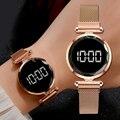 Luxus Digitale Magnet Uhren Für Frauen Rose Gold Edelstahl Kleid LED Quarz Uhr Weibliche Uhr Relogio Feminino Drop Schiff