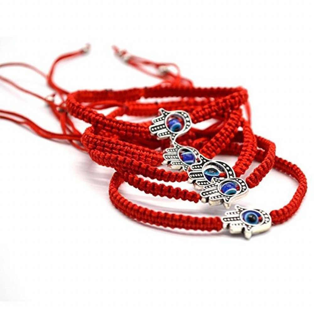 Lucky Kabbalah Red String ด้าย Hamsa สร้อยข้อมือสีฟ้าตุรกี Evil Eye Charm ผู้หญิง Handmade Fatima เครื่องประดับมิตรภาพ