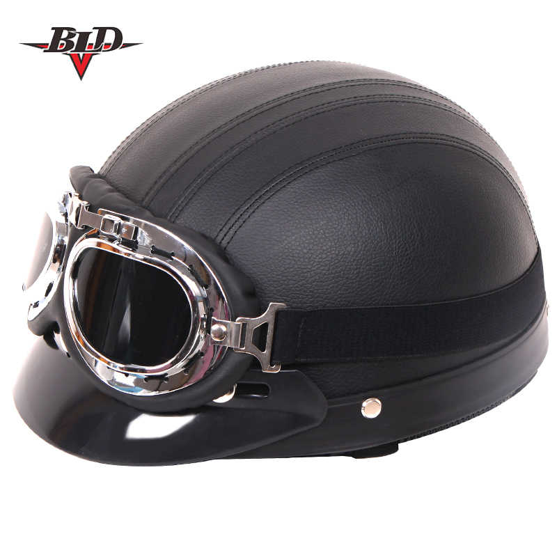 universal motorcycle scooter synthetic leather open face half helmet /& visor UV glasses black black Vintage motorcycle helmet with glasses size