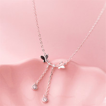 925 sterling silver The necklace butterfly tassel Department of temperament Students present Womens fashion jewelry