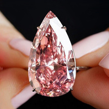 USTAR Big Water Drop Pink Cubic Zirconia Wedding Rings for women Shiny CZ Crystals Rose gold Finger Female Anel party gift