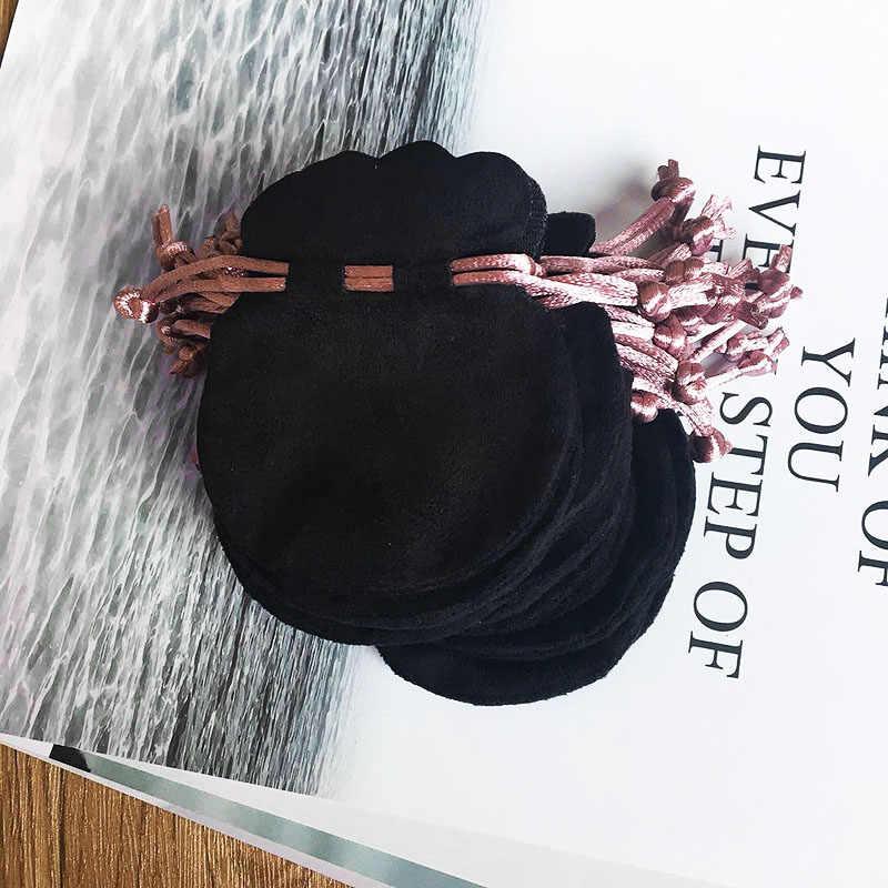 1pcs ורוד סרט פלנל תיק פאוץ עבור חרוז קסם צמיד שרשרת נשים מקורי אירופה תכשיטי שחור חיצוני אריזה