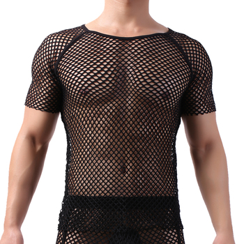 Men Undershirts Sexy Mesh T-shirts Breathable Short Sleeve Undershirt Underwear Transparent Muscle Shirts Gay Tank Tops