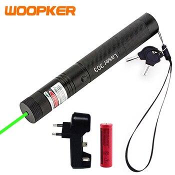 Puntatore Laser verde caccia tattica 532nm 5mW dispositivo potente Lazer con messa a fuoco regolabile con Laser a batteria 303 partita di combustione