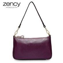 Zency Elegantสีม่วงผู้หญิงไหล่กระเป๋าหนังแท้100% กระเป๋าถือสีดำHobosแฟชั่นLady Messengerกระเป๋าCrossbodyขนาดเล็ก