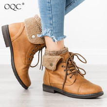 Купить с кэшбэком OQC Women Sweater Cuffed Combat Ankle Boots Fall Winter Warm Plus Velvet Wool Mouth Flanging Lace Up Chunky Heel Casual Boot D25