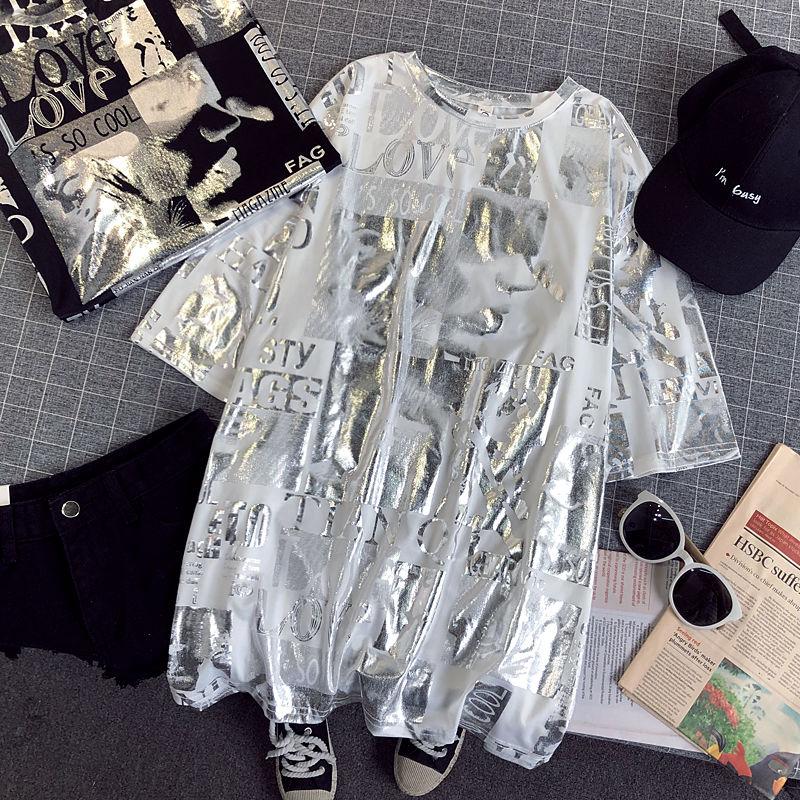 2019 T-shirt Women Shiny Letters Silver Print Short Sleeve O-neck Fashion Oversized Casual Summer Femme T Shirt Women Tops CC302