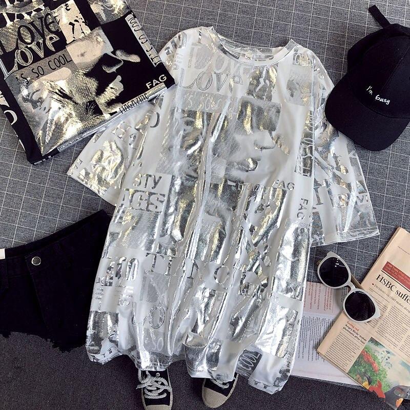Estampada de Letras Feminina de Prata Curta com Gola em o Tamanho Camiseta Brilhantes Manga Grande Casual Verão Feminina Cc302