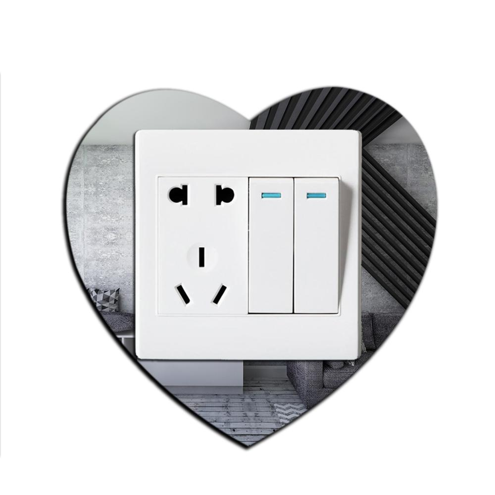 Acrylic Mirror Switch Sticker 3D Love Heart Wall Decor Switch Protector Living Room Home Decor Removable DIY Mirror Wall Sticker