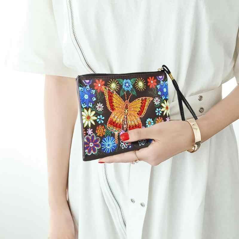 Bricolage spécial en forme de diamant peinture bracelet portefeuille pochette pour femmes sac de rangement papillon plante coeur noël fille cadeaux