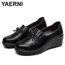 YAERNI Autumn New Fashion Slip On Women High Heels Shoes Woman Wedges Leather Unique Comfortable Casual Shoes Women Pumps 35-41