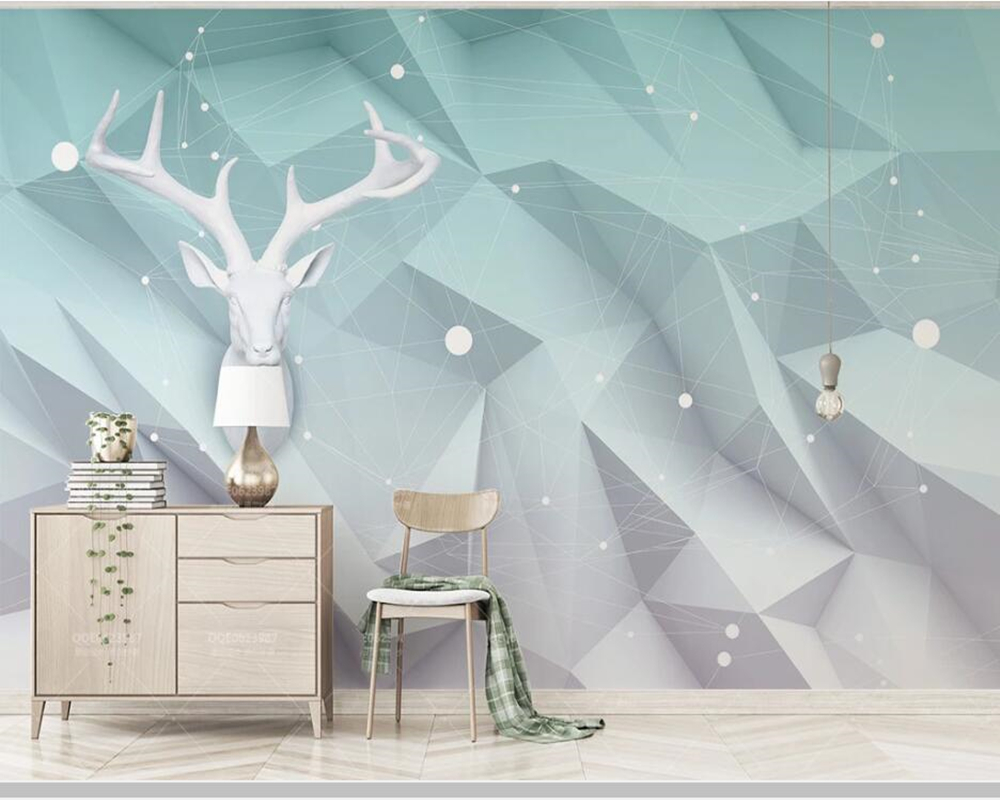 Papel de parede géométrique polygone élans lignes nordique 3d stéréo papier peint mural, salon enfants chambre papiers peints décor à la maison