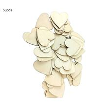 100/50pcs Blank Heart Wood Slices Discs Wood Heart Love Blank Unfinished Natural Crafts Supplies Wedding Ornaments Diy Crafts(China)