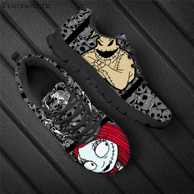 Elviswords Hot Movie Vrouwen Flats De Nightmare Before Christmas Print Ademend Mesh Sneakers Voor Dames Meisjes Lichtgewicht Schoen