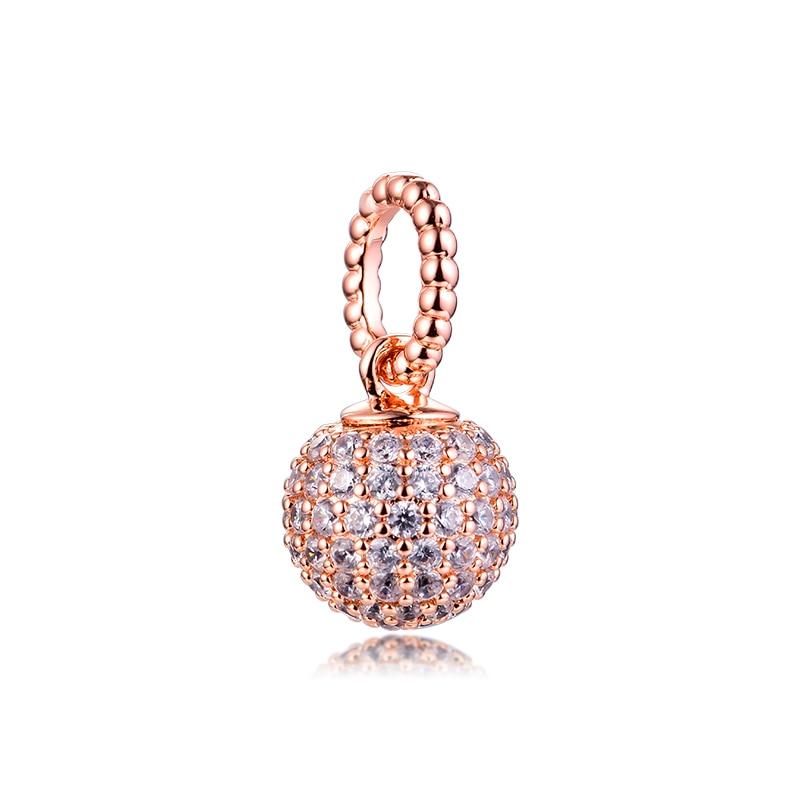 Véritable 925 en argent Sterling or Rose pavé boule pendentif perles breloque convient Pandora Bracelet bijoux pour les femmes bricolage faisant kralen