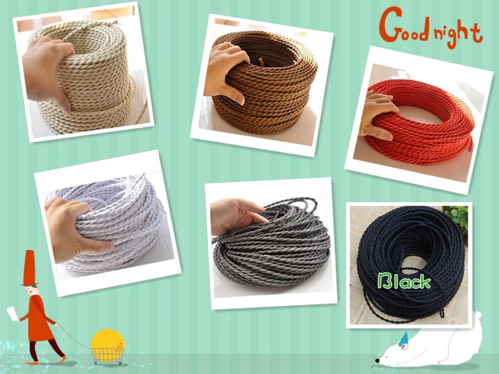 100 m/a lot 2 x0.75 nuclear power cable cable power cord knitting textile fabric silk braided wire cable cloth vintage cable