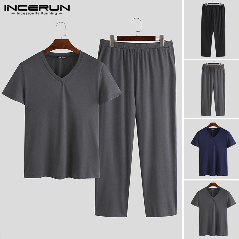 INCERUN New 2020 Spring Mens Pajamas Long Sleeve Male Nightclothes Set Male Solid Color Cotton Pajamas Men Sleepwear Suits 5XL