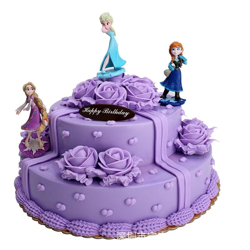 Disney New Children's Action & Toy Figures Toy Decoration Elsa Anna Rapunzel Cake Decoration DIY Anime Model Toys