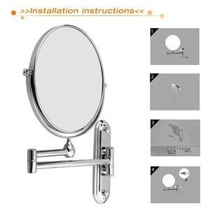Image 4 - عالية الجودة 8 بوصة الفولاذ المقاوم للصدأ 5x التكبير مرآة الحائط مرآة ماكياج الحمام تمديد للطي مزدوجة الوجهين