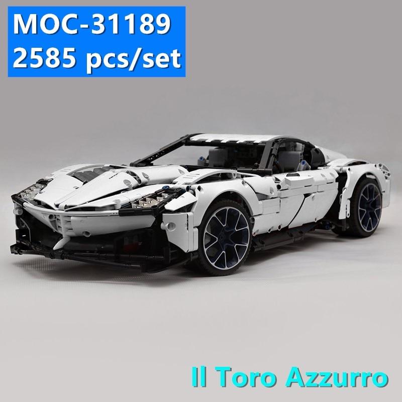 New MOC SERIES Il Toro Azzurro Super Racing Car Fit LeGINGlys Technic MOC-31189 Model Kits Building Blocks Bricks Toy Kid Gift