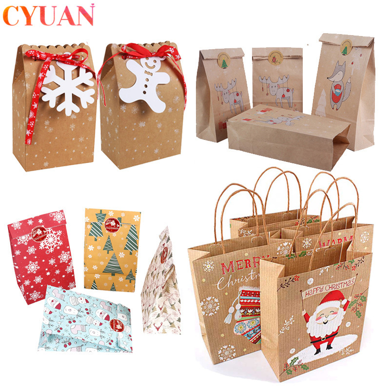 Merry Christmas Gift Bags Xmas Tree Plastic Packing Bag Snowflake Christmas Candy Box New Year Kids Favors Bag Noel Navidad