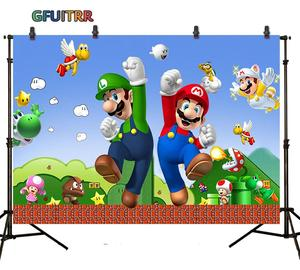 Image 2 - GFUITRR Marios Bros Photography Backdrop Baby Shower Kids 1st Birthday Party Photo Background Game Vinyl Photo Booth Props