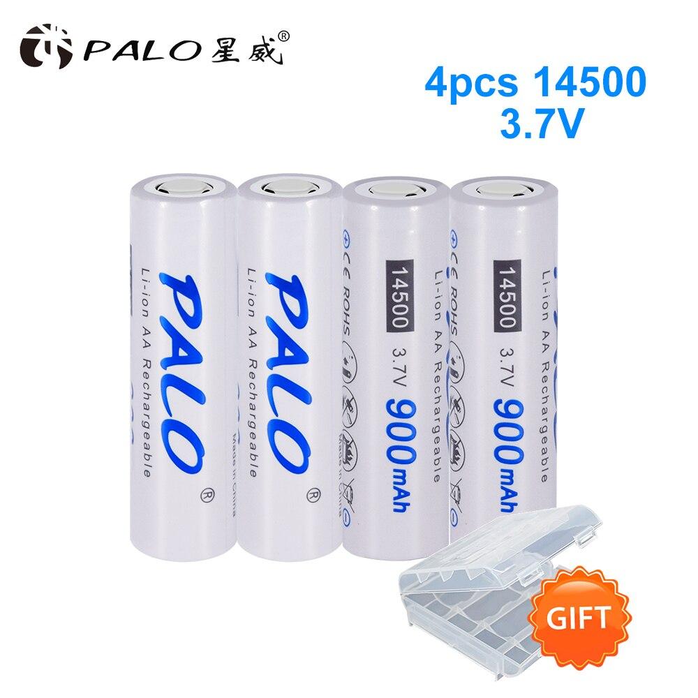 PALO Original bateria 900mAh 3.7V 14500 Li-ion Recarregável 14500 Da Bateria De Lítio De alta capacidade para lanterna LED