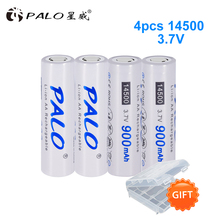 PALO Original 900mAh 3.7V battery 14500 Li-ion Rechargeable Battery 14500  Lithium high capacity for LED flashlight ultrafire lc 14500 rechargeable 900mah 3 6v li ion battery blue